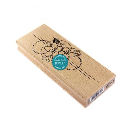 Tampons bois Un jour spécial Composition de fleurs - 6 x 15 cm