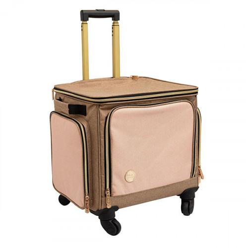 Sac de transport Rolling bag Taupe et rose
