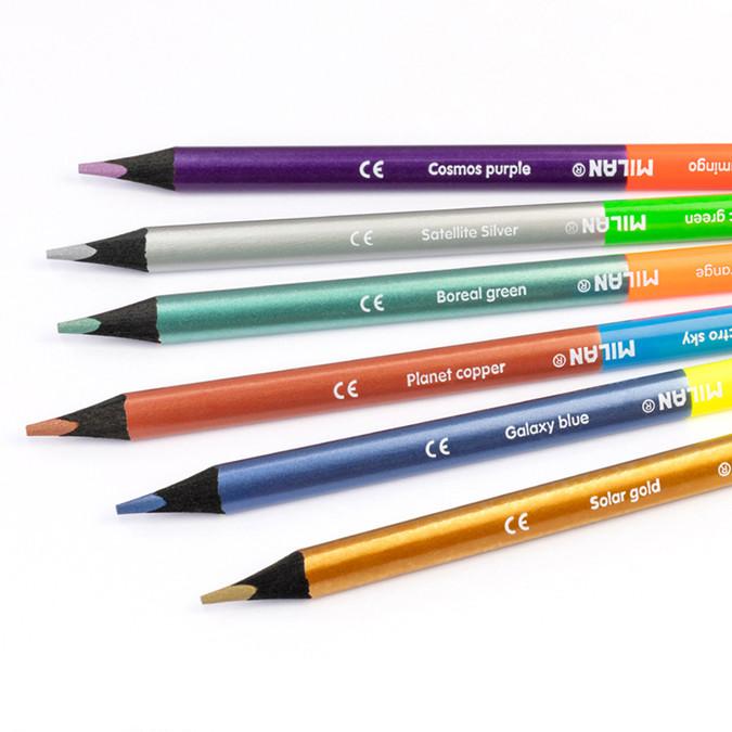 Crayon de couleur bicolore triangulaire Fluo + Métal 6 pcs