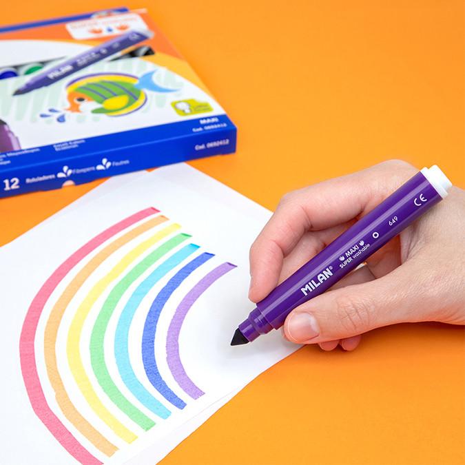 Feutres Maxi Super Lavables 7.5mm pochette 12 couleurs