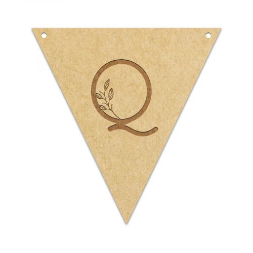 Fanion Lettre Q 11,5 x 12 cm
