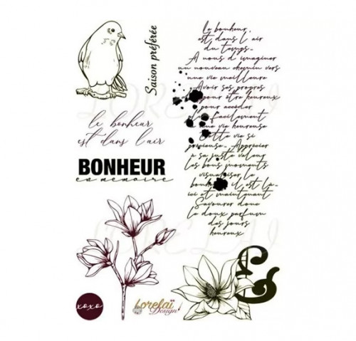 Tampons transparents Bloom : Bonheur en mémoire - 8 pcs