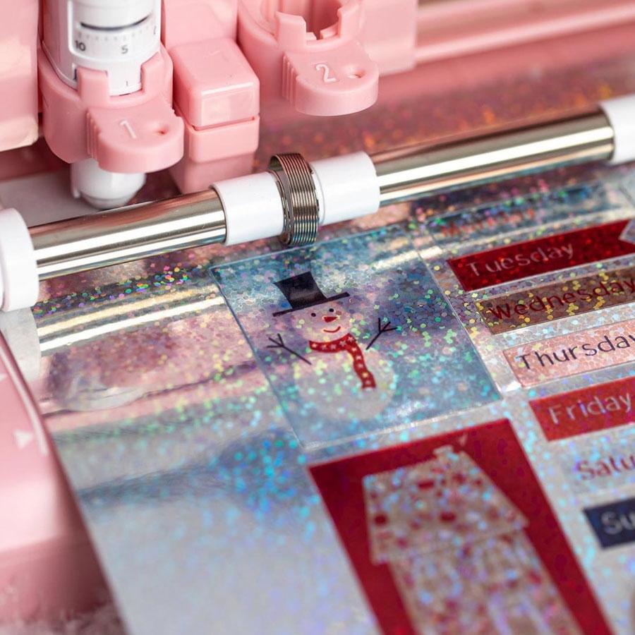 Matière autocollante et imprimable Effet confetti holographique - 8 feuilles