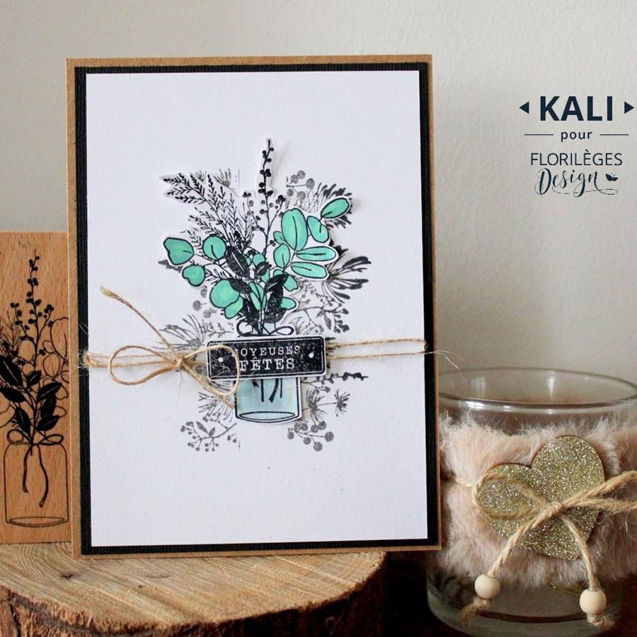 Tampon bois Bouquet d'hiver - 7 x 10 cm