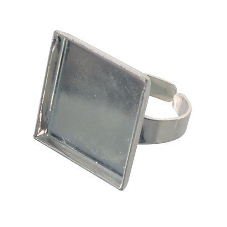 Bague carrée creuse - Argent - 20 x 20 mm