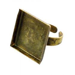 Bague carrée creuse - Vieil or - 20 x 20 mm