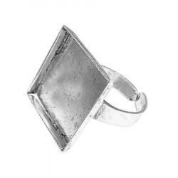 Bague carrée creuse - Vieil argent - 20 x 20 mm