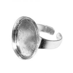 Bague ronde creuse - Vieil argent - 20 mm de diamètre