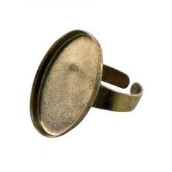 Bague ovale creuse - Vieil or - 18 x25 mm