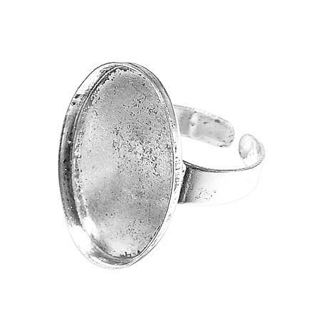 Bague ovale creuse - Vieil argent - 18 x 25 mm