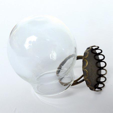 Bague globe - Vieil or - 30 x 30 mm
