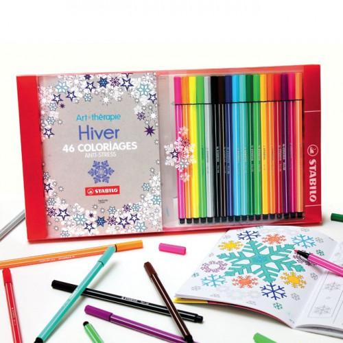 Art Thérapie - Coffret de coloriage Anti-stress - Carnet (Hiver) + 18 feutres Stabilo Pen 68