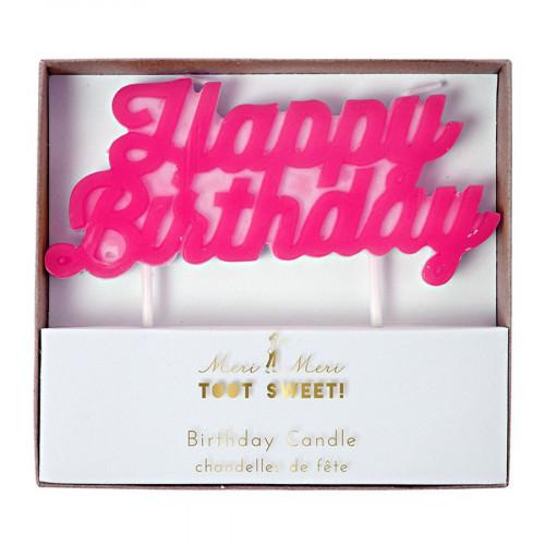 Bougie - Happy Birthday - Rose