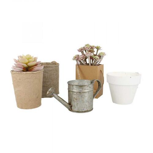 Pot en papier-mâché avec mousse - 9,4 x 9,5 x 7,6 cm