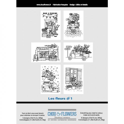 Cartes à colorier Les fleurs #1 - 10 x 15 cm - 6 pcs