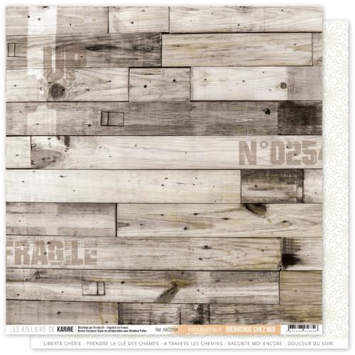 Papier Bienvenue chez moi 30,5 x 30,5 cm Bois rustique