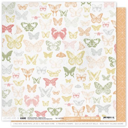 Papier Bienvenue chez moi 30,5 x 30,5 cm Jolis papillons