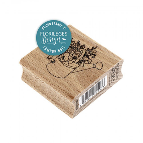 Tampon bois Arrosoir fleuri - 5 x 5 cm