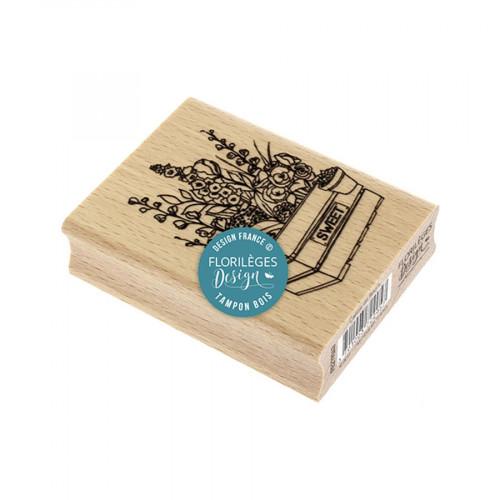 Tampon bois Caisse de fleurs - 6 x 8 cm