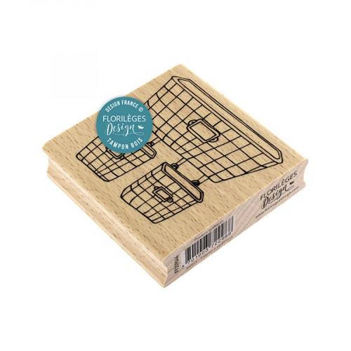 Tampon bois Paniers grillagés - 8 x 8 cm