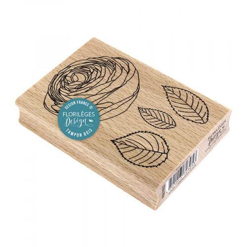 Tampon bois Rose ancienne - 7 x 10 cm