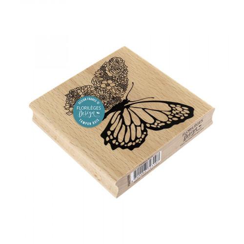 Tampon bois Papillon floral - 10 x 10 cm