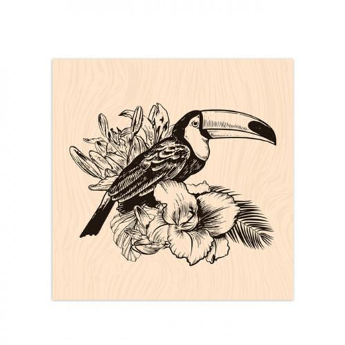 Tampon bois Toucan - 10 x 10 cm