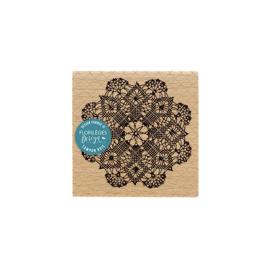 Tampon bois Napperon au crochet - 7 x 7 cm