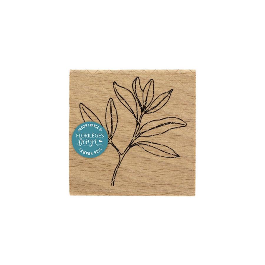 Tampon bois Feuillage léger - 7 x 7 cm