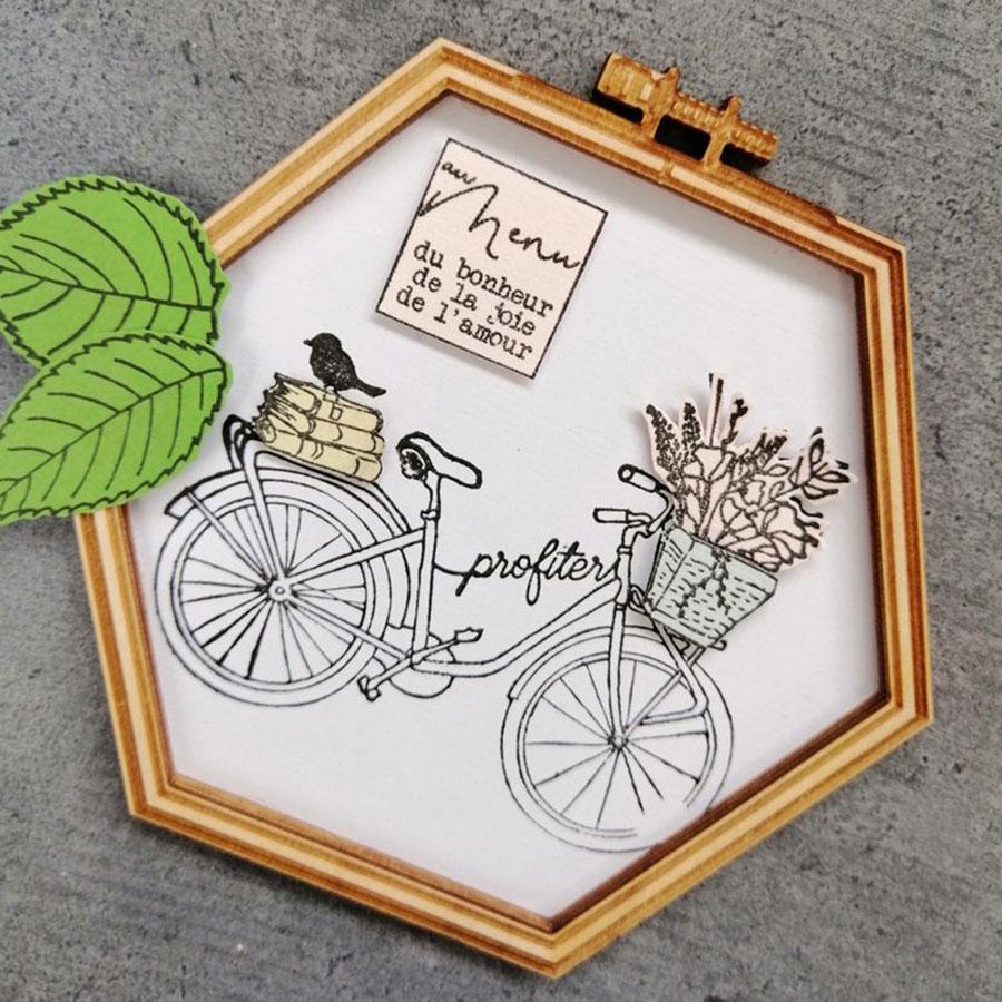 Tampon bois Profiter à vélo - 10 x 7 cm