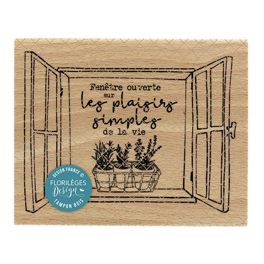 Tampon bois Fenêtre ouverte - 10 x 8 cm