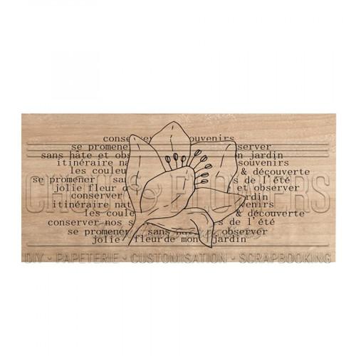 Tampon bois Jolie fleur - 8 x 4 cm