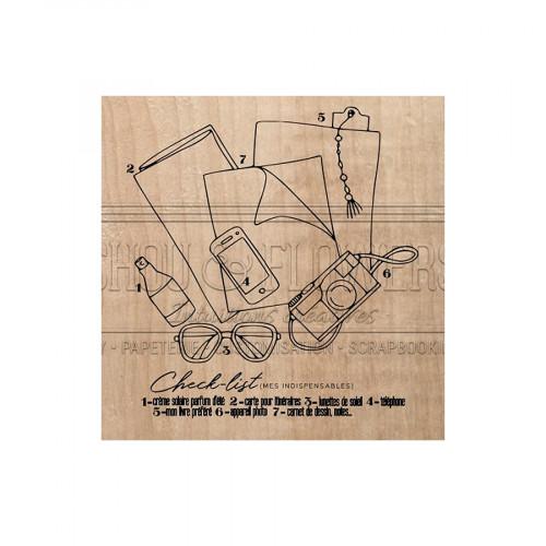 Tampon bois Check list - 8 x 7 cm
