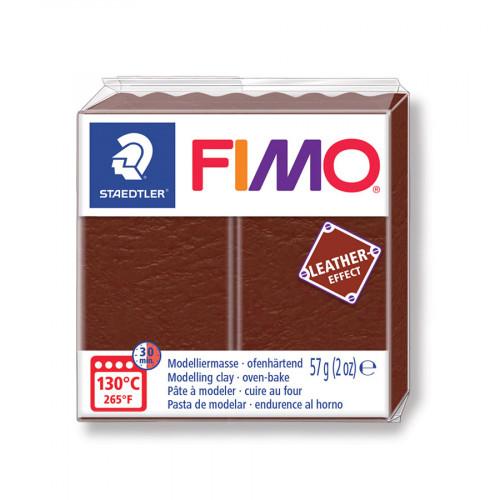 Pâte à modeler polymère Fimo Effect Cuir 57 g - marron