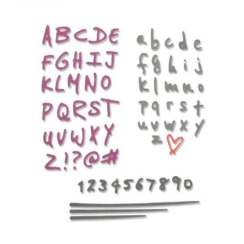 Thinlits Die Set Alphabets et chiffres Doodle - 4 pcs