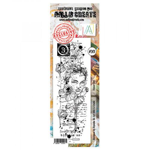 Tampon transparent #201 La fille aux fleurs