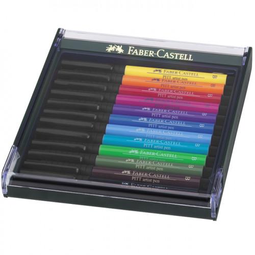 Lot de 12 Feutres Pitt Artist Pen pinceaux - Nuances basiques