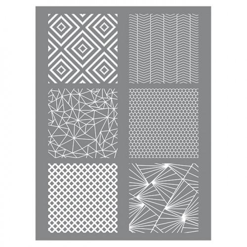 Pochoir Géométrique pour pâte polymère - 11,4 x 15,3 cm