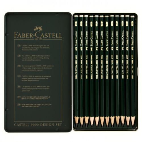Boîte en métal de 12 crayons graphite CASTELL 9000 DESIGN