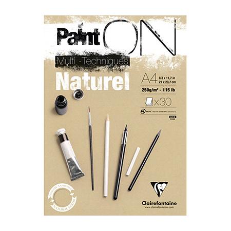 Bloc Paint'On papier Naturel 250 g/m² - A4 - 30 feuilles
