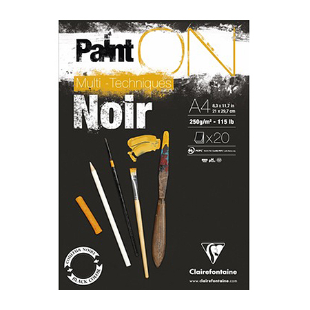 Bloc Paint'On papier Noir 250 g/m² - A4 - 20 feuilles