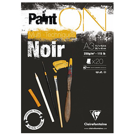 Bloc Paint'On papier Noir 250 g/m² - A3 - 20 feuilles