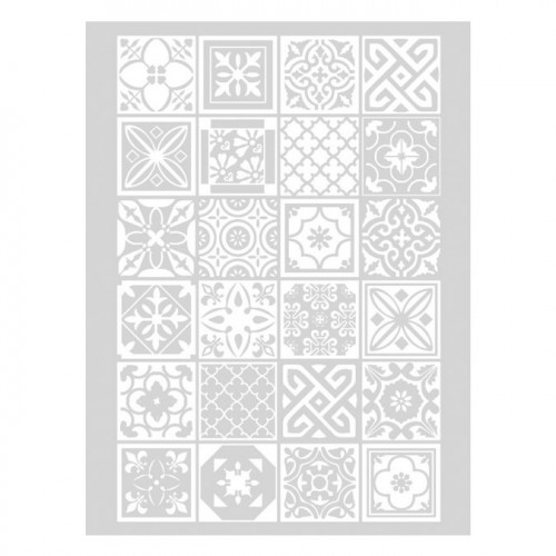 Pochoir Azulejos pour pâte polymère - 11,4 x 15,3 cm