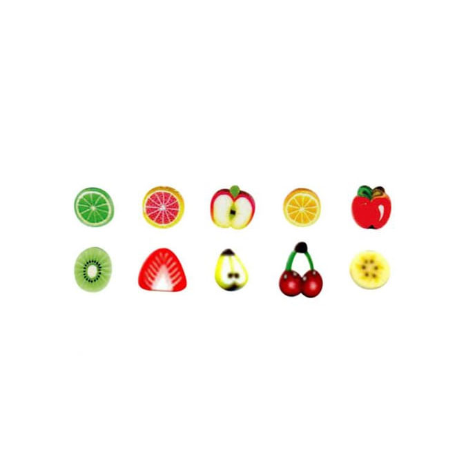 Mini Canes Fruits en pâte polymère - 10 pcs