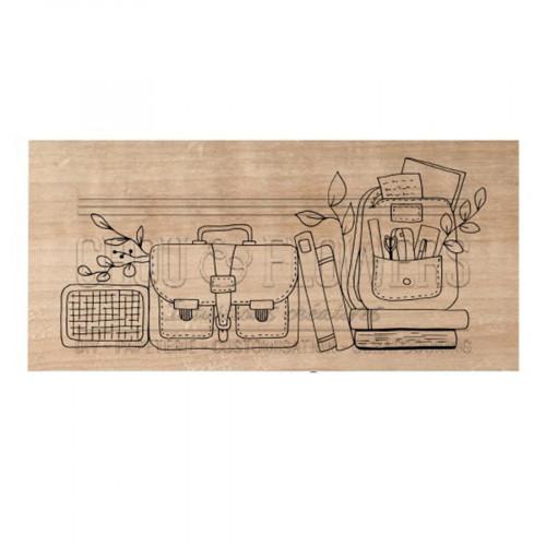 Tampon bois Le cartable - 8,5 x 4 cm