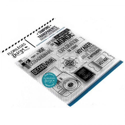 Tampons transparents Cap sur le monde - 9 pcs