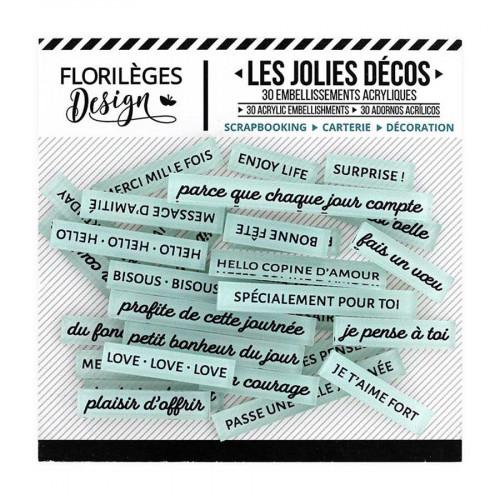 Décos Mots doux Céladon - 30 embellissements acryliques