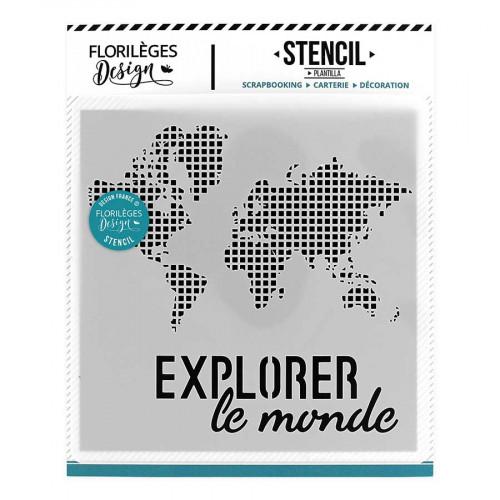 Pochoir Explorer le monde - 11,7 x 12 cm