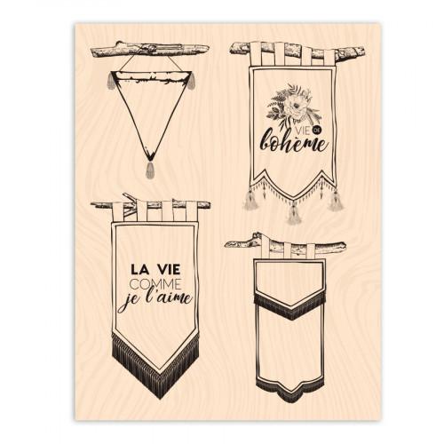 Tampon bois Fanions - 10 x 13 cm