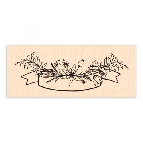 Tampon bois Bannière florale - 10 x 4 cm